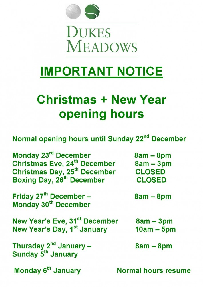 Christmas + New Year opening times
